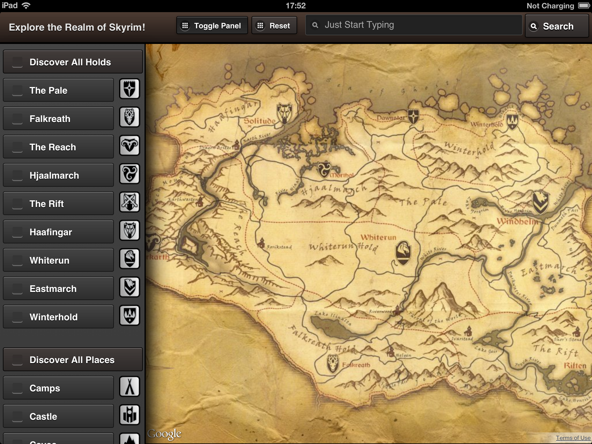 An Interactive Skyrim Map Realized By Leonardo Gandini