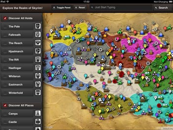 Skyrim Map HD App for iPad