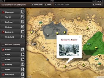 Skyrim Map HD App for iPad